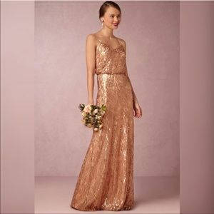 Donna Morgan Courtney Rose Gold Sequin Gown Dress